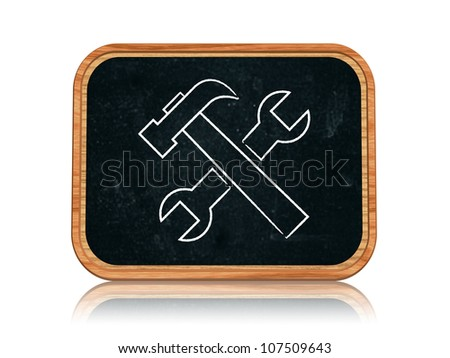 3d blackboard banner with chalk tools sign - stock photo