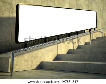 3d Blank advertising panel on street - stock photo