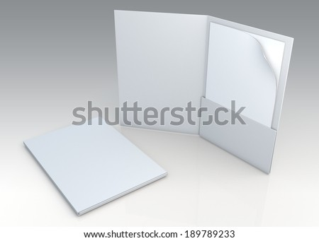 3D blank clean white folder for document papers sheets A4 container in isolated background with work paths, clipping paths included  - stock photo