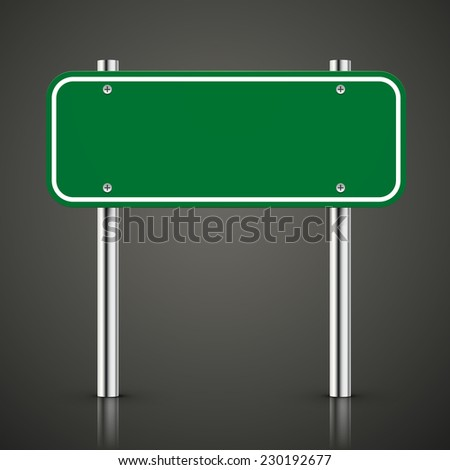 3d blank green traffic road sign over black - stock photo