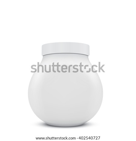3d blank jar on white background - stock photo