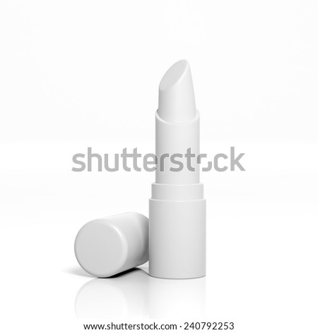 3D blank lipstick mockup isolated on white - stock photo