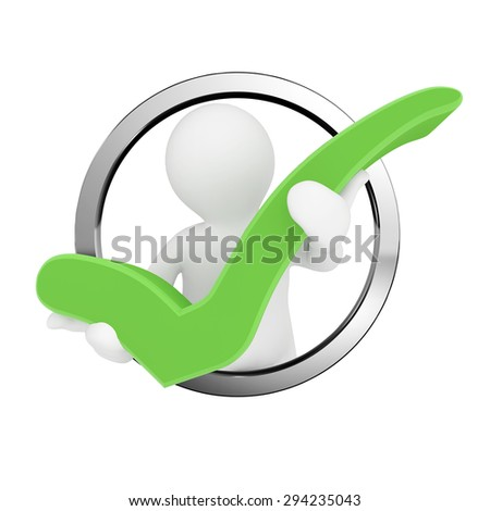 3d blank man hold green check mark, isolated white background. - stock photo