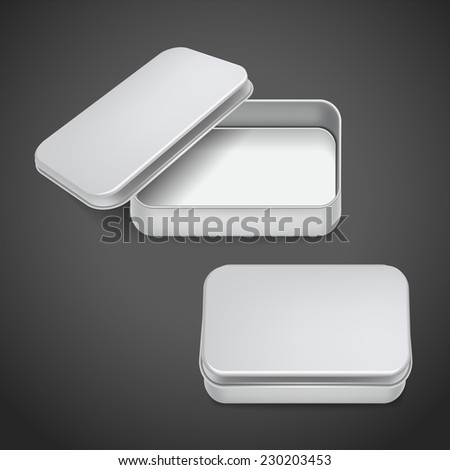 3d blank metal box template isolated on black background - stock photo