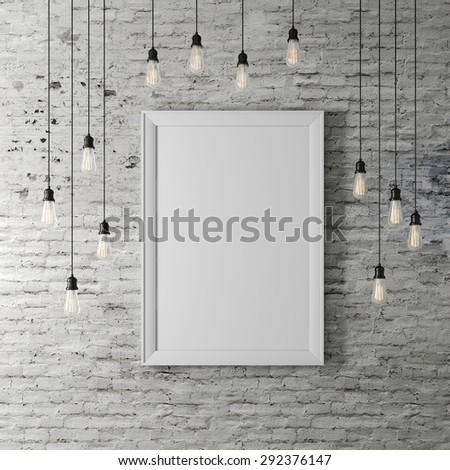 3d blank poster and light bulbs - stock photo