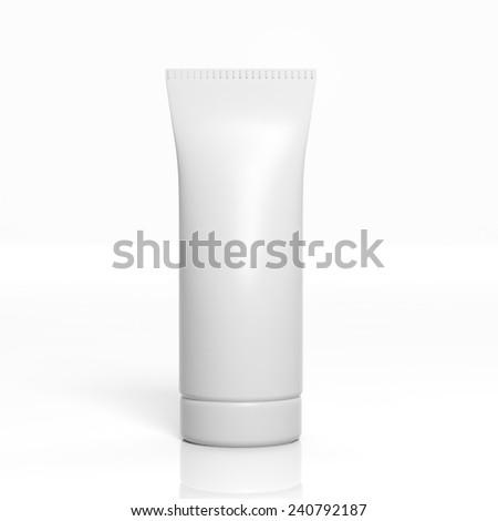 3D blank product tube mockup isolated on white - stock photo