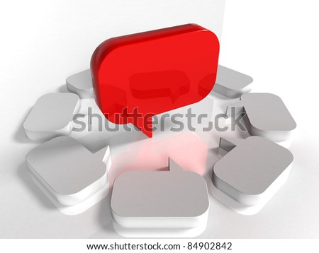 3d blank speech bubble - Red - stock photo