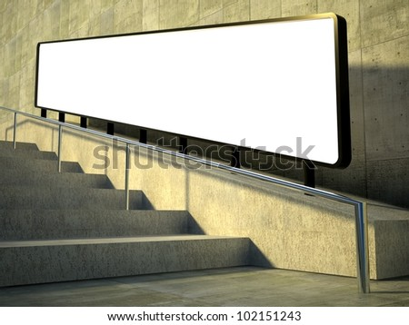 3d blank street advertising billboard on stairs - stock photo