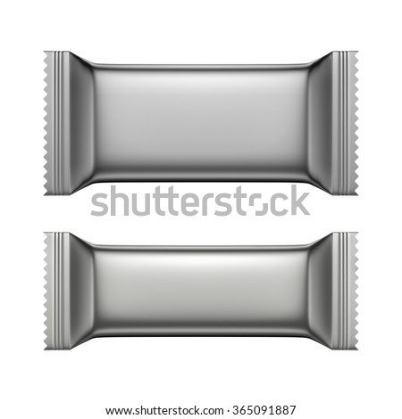 3D Blank Sweet Snack packing silver color design for wrappers set of two, object isolated die cut - stock photo