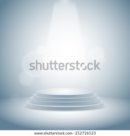 3d  blank template layout of white empty musical, theater, concert or entertainment stage - stock photo