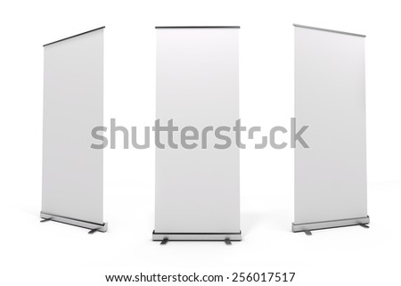 3d blank white rull-up baneer - stock photo