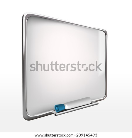 3d blank whiteboard with marker pen isolated on white - stock photo