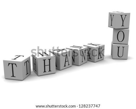 3D Block Word: Thank You - stock photo