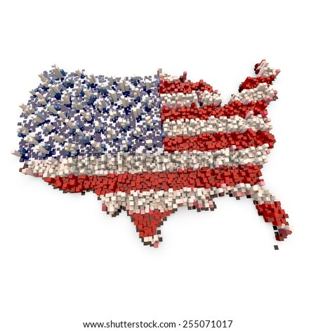 3D blocks abstract flag map of the USA  - stock photo