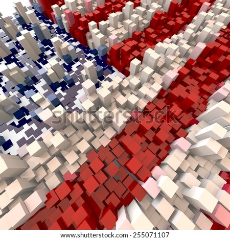 3D blocks abstract flag map of the USA background - stock photo