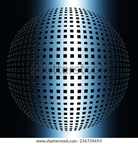 3d blue abstract cubic ball - stock photo