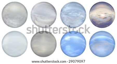 3d blue and grey  glass spheres set or collection  isolated on white background,ideal for 3D symbols, signs or web buttons. It is a sphere reflecting a blue sky with clouds - stock photo