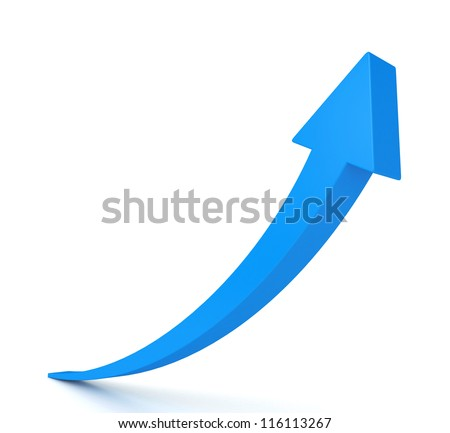 3d blue arrow isolated on white background - stock photo