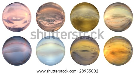 3d blue,brown,grey,pink and orange  glass spheres set or collection  isolated on white background,ideal for 3D symbols, signs or web buttons. It is a sphere reflecting a blue sky with clouds - stock photo
