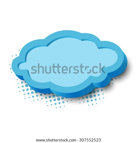 3d blue cloud frame with border and shadow - stock photo