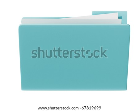 3d blue folder icon isolated in white background - stock photo