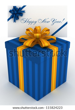 3D blue Gift christmas box with new year postal, envelope - stock photo