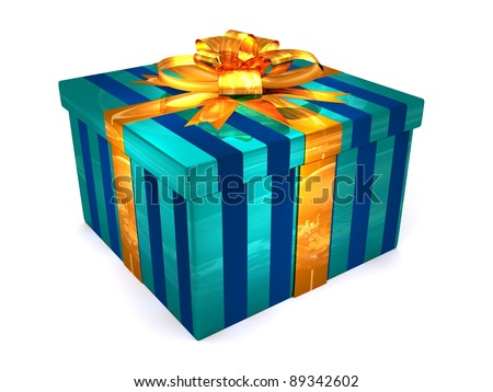 3D blue Gift cristmas box on the white - stock photo