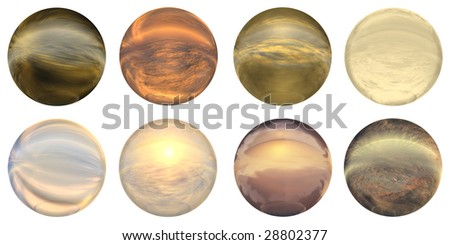 3d blue glass sphere isolated on white background,ideal for 3D symbols, signs or web buttons. It is a sphere reflecting a sky with clouds at sunset - stock photo