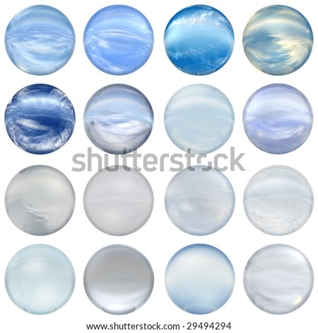 3d blue glass spheres collection or set isolated on white background,ideal for 3D symbols, signs or web buttons. It is a sphere reflecting a blue sky with clouds - stock photo