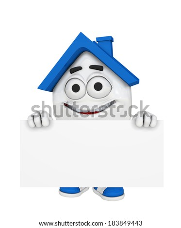 3d blue house character concept - Blank advertising board - stock photo