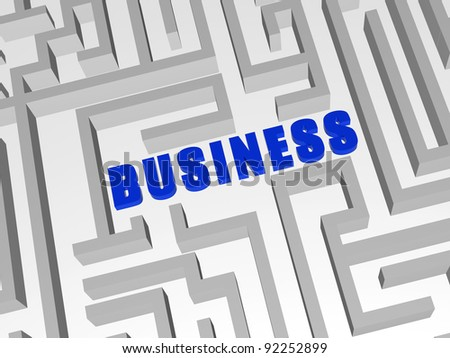 3d blue letters make word business in the centre of labyrinth - stock photo