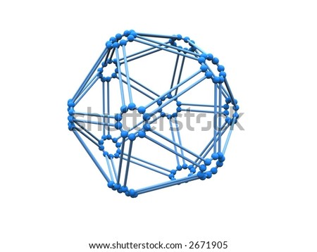 3d blue molecule over white - stock photo