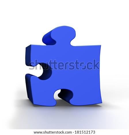 3D  Blue Puzzle on a white background - stock photo