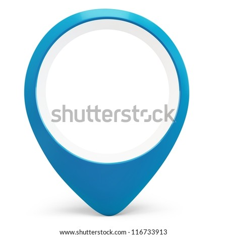 3d blue round pointer locator on white background - stock photo