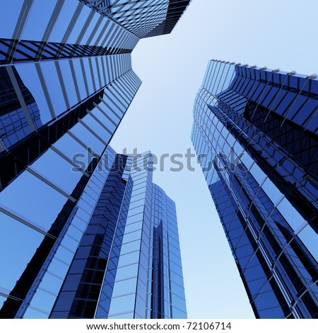 3D blue sky scrapers and blue sky above - stock photo