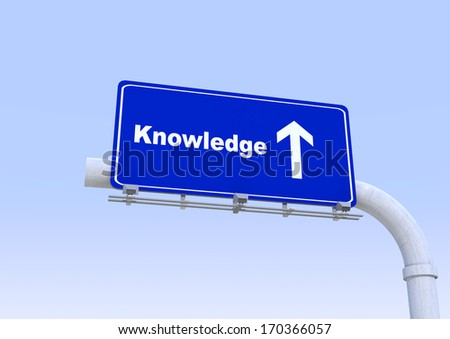 3D Blue street sign with knowledge word written on it with blue sky on the background - stock photo