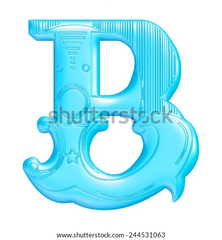 3D blue Text B isolated on white background  - stock photo