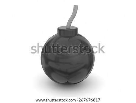 3d Bomb on white background - stock photo
