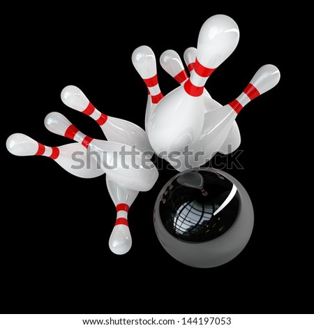 3d Bowling Ball crashing into the pins isolated on black background. High resolution - stock photo