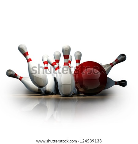 3d Bowling Ball crashing into the pins isolated on white background. High resolution - stock photo
