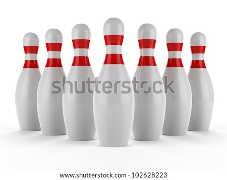 3d Bowling pins on white background - stock photo
