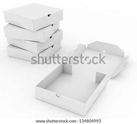3d box for pizza isolated on white background - stock photo