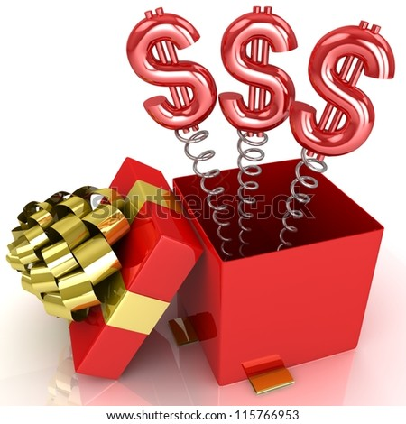3d box with dollar signs - stock photo