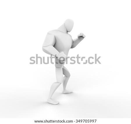 3D Boxer preparing for fight. - stock photo