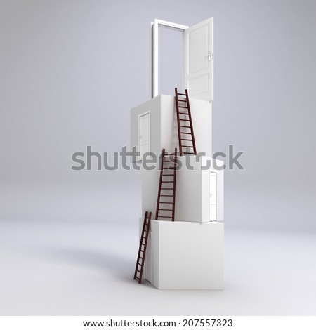 3d boxes with doors and ladders, concept for business success - stock photo