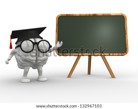 3d brain and a backboard. Concept of intelligence - stock photo