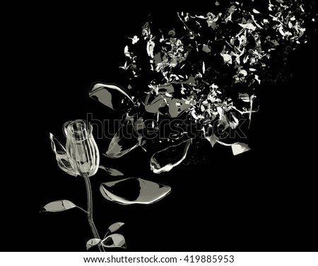 3D Breaking Rose glass - stock photo