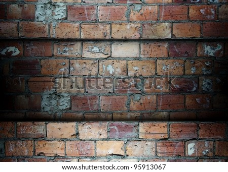 3d Brick wall template, background - stock photo