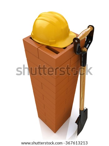 3D brickwork, yellow safety helmet and shovel. Construction concept. Workplace in the design of the information related to the construction - stock photo