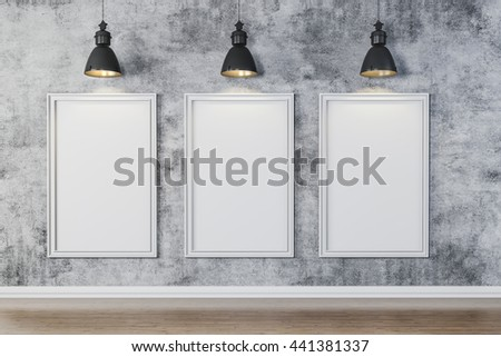 3d bright interior setup with ceiling lamp and blank frame canvas  - stock photo